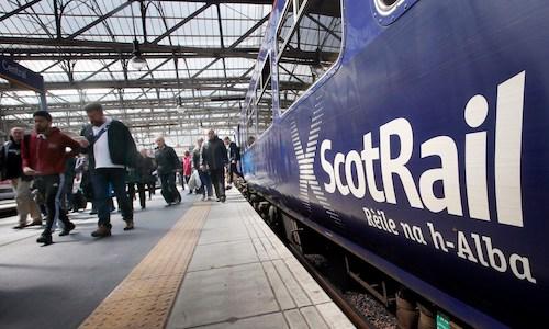 A ScotRail train in a U.K. station.